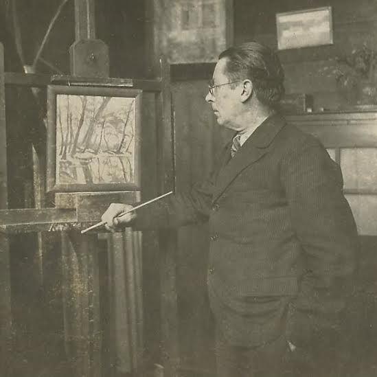 Theo Lohmann achter zijn schildersezel in zijn Atelier 1950